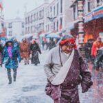 Barkhor Winter snow pilgrim