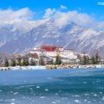 Lhasa Potala river frozen ice
