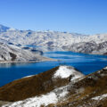 yamdrok lake under snow