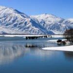 Lhasa River Winter freezelhasa river snow mountain