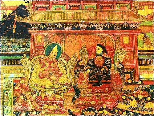 Painting in Potala - Fifth Dalai Lama